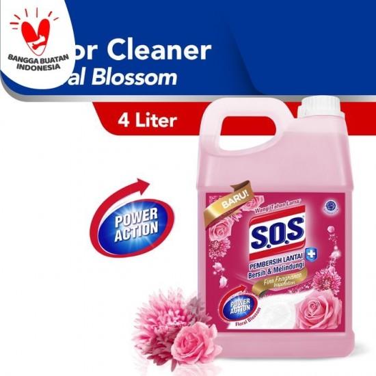SOS Pembersih Lantai Jerigen Floral Breeze - Pink [4 Liter]